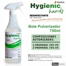 DESINFECTANTE DE MANOS 750 ml.